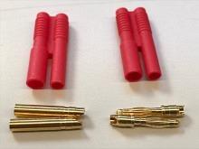 2mm Stecker/Buchsen Set vergoldet mit Verpolungsschutz (1Paar)