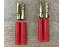 4.0mm Stecker/Buchsen Set vergoldet mit Verpolungsschutz (5 Stk)